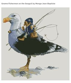 Cross Stitch Chart Gnome Fisherman Seagull  Fantasy Series by Lena Lawson Needlearts - Art of Jean-Baptiste Monge