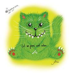 Sit on grass and relax. KOT #14   #88summercats #art #print #kot #cat #catart #qoute #kotquote #smile #smilingcat #happycat