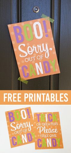 FREE Trick or Treat Printables, perfect to leave on your porch with a bowl of candy OR to tell trick-or-treaters you