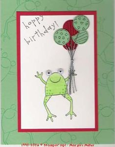 Stampin Up Unfrogettable Boy Cards, Kids Cards, Frog Crafts, Stamping Up Cards, Animal Cards, Birthday Balloons, Creative Cards, Homemade Cards, Making Ideas