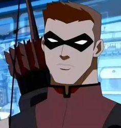 Red arrow... Aka speedy.  Iwouldliketo see more of him in young justice but Connor kent will do.