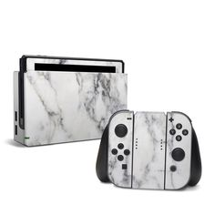 DecalGirl Nintendo Switch skins feature vibrant full-color artwork that helps protect the Nintendo Switch from minor scratches and abuse without adding any bulk or interfering with the device's operation. This skin features the artwork White Marble by Mar Leica, Video Game Cakes, Nintendo Switch Case, Nintendo Switch Accessories, Dji, Space Games, Game Room Design, Cute Games, Microsoft