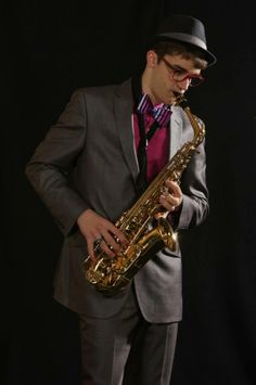 Nathaniel with his sax!