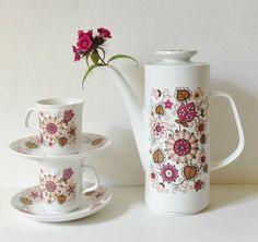 Vintage JG Meakin Filigree pink floral print coffee by GoodsGarb