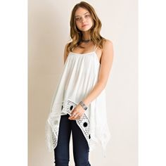 -NEW ARRIVAL- Handkerchief Flare Tank Twist & turn during the summer days in this Daydreamer Handkerchief tank! Crinkles Rayon handkerchief flare tank top featuring lace on the hem. Unadjustable straps. Non-sheer. Woven. Lightweight and great for summer!   100% Rayon likeNarly Tops Tank Tops