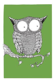 Green Owl screen print by Adam Weaver #owls #adamweaver #design