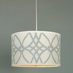 Trellis Linen Drum Shade Pendant - 2 colors I prefer the Spa Blue and Cream color.  soo gorgeous.  would go great in the living room.