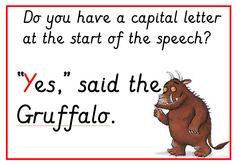 Gruffalo Speech Mark Rules Posters: a set of classroom posters with a Gruffalo theme. Ks1 Classroom, Classroom Posters, Gruffalo Activities, Book Activities, Julia Donaldson Books, Working Wall, The Gruffalo, Literacy Programs, Phonics Reading