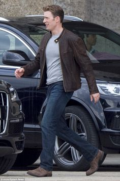 Back to work: Chris Evans, 34, was spotted on the set of Captain America: Civil War in Ber...