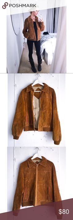 Vintage suede jacket Mmmmmmmm how sweet is this little diddy?! There's no tag for sizing - I'd say it's between a small and a medium. On the right breast there is a leather detail that is missing as well, otherwise it is in primo shape. 100% leather. Jackets & Coats