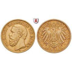 Deutsches Kaiserreich, Baden, Friedrich I., 10 Mark 1898, G, ss+/ss-vz, J. 188: Friedrich I. 1852-1907. 10 Mark 1898 G. J. 188;… #coins