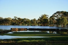 This is a picture of the Red Cliffs Golf Club 3rd hole in the 2009 floods in Mildura.