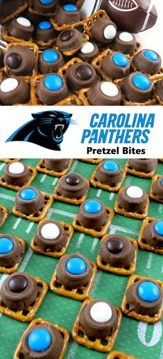 Our easy to make Carolina Panthers Pretzel Bites are yummy bites of sweet and salty Football Game Day goodness. They are perfect as a little extra treat at a NFL playoff party, a Super Bowl party or as a special dessert for the Carolina Panthers fan in yo Super Bowl Party, Super Bowl 2016, Buffalo Chicken, Cheddar, Football Snacks, Superbowl Desserts, Sandwiches, Tailgate Food, Tailgating