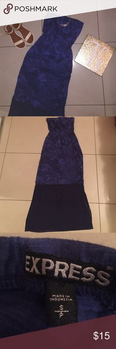 Blue Strapless Maxi Dress Size S. Excellent condition. Worn 2 times. Perfect for the summer. Please feel free to make an offer or to ask any question.  Express Dresses Maxi