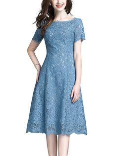 Fashion Style Women Over 60 Shops Ideas Dress Brukat, Batik Dress, Lace Midi Dress, Simple Dresses, Pretty Dresses, Dress Brokat Modern, Simple Cocktail Dress, Dress Patterns, Fashion Dresses