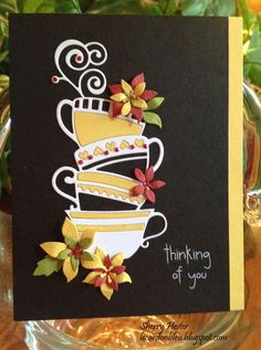 """Thinking of You"" Memory Box Poppystamp card by Sherry Hester. Love this color combo. Simple Pleasures Rubber Stamps and Scrapbooking."