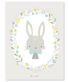 Sweet Bunnie Blauw - Poster | Gras onder je voeten