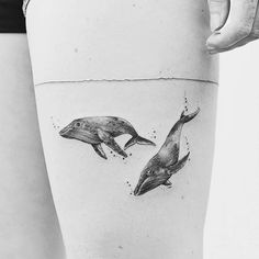 Thigh Whale Tattoo Design for Women