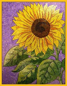 sunflower mosaic with egg shell