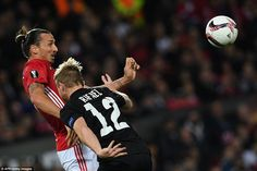 Ibrahimovic (left) tries to get some joy in the air, as he vies for the ball with the impressive Rafael Forster on Thursday night