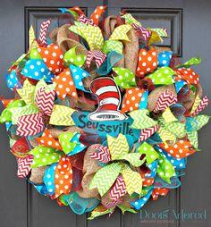 Seuss Wreath - Seussville Wreath - Teacher Wreath - Cat In the Hat Wreath - Classroom Wreath - Dr. Classroom Wreath, Teacher Wreaths, School Wreaths, Classroom Ideas, Craft Stick Crafts, Crafts To Sell, Diy Crafts, Craft Sticks, Craft Ideas
