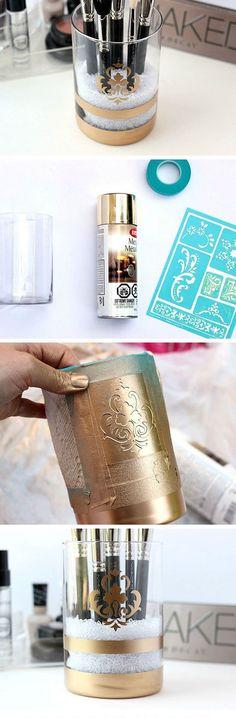 DIY Gold Spray Painted Makeup Brush Holder | 18 DIY Makeup Storage Ideas | Easy Organization Ideas for Girls Bedrooms