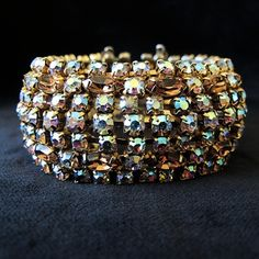 Sparkling Wide Topaz and Aurora Borealis Crystal Bracelet by Keyes from Vintage Jewelry Girl! #vintagejewelry #vintagebracelet