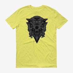Men Wolf Head T Shirt Spring Yellow