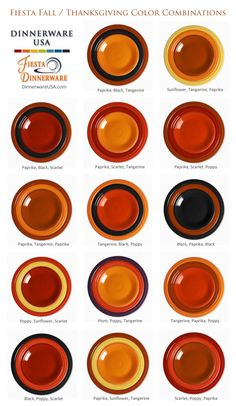 Fall & Thanksgiving Fiesta Color Combinations - a quick way to get ideas for setting a fall, harvest or Thanksgiving day table. #Thanksgiving #Fiesta #Fiestaware