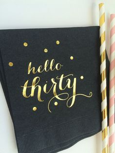 Hello Thirty Black w/Metallic Gold Foil by MemorableWedding