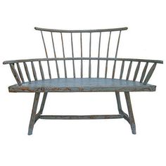 A Rare Antique Americana Windsor Bench.  USA  Late 19thc  A lovely Americana,windsor style bench.Painted with the original milk paint in Shaker Blue.
