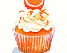 Halloween Cupcake 37 Original Watercolor Painting by FleurDeParis