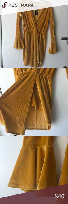 I SAW IT FIRST // velvet frills dress brand new, never worn, with tags! mustard colored, light weight, long sleeved velvet dress. the front hem is asymmetrical. I Saw It First Dresses Mini