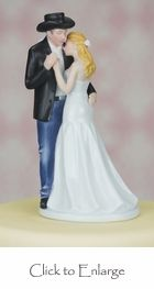 """Old Fashion Lovin"" Cowboy Western Wedding Cake Topper  Second to the one with the groom carrying the bride one. It this was made in the style of the other I would lean more toward this as first choice between the two."