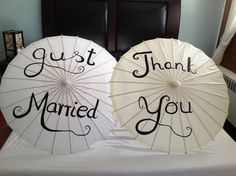 Ivory Paper Parasols: Thank You Just Married Or Happily Ever After $28