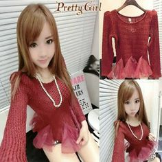 NEW Womens Girls Chiffon lace fishtail skirt Warm low round collar Long sleeves