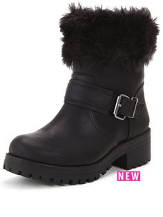 Shoe Box Perdita Faux Fur Cuff Casual Buckle Boot  | very.co.uk