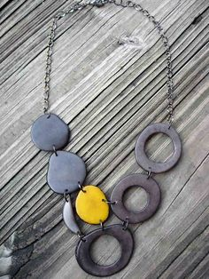 Gray and Yellow Tagua Nut necklace - Etsy/veronicarileymartens