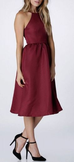 Elegantly Yours Midi Dress in Burgundy