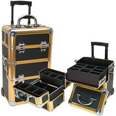 Professional Black/Gold Rolling Makeup Case    I could sure use this for all my nail stuff