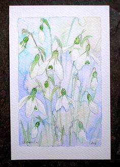 £80 ~ CORNISH SNOWDROPS original watercolour by TheMinervaGallery