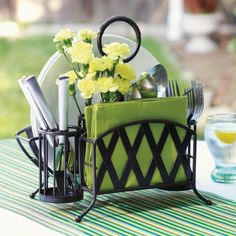 Pin Lattice Picnic Caddy with Antiqued Black Finish