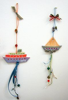 Toepferideen Toepfern Ideen mit Kindern DIY IDEEN schiffe Wire Crafts, Clay Crafts, Diy And Crafts, Crafts For Kids, Arts And Crafts, New Years Decorations, Christmas Decorations, Paper Crafts Origami, Christmas Crafts