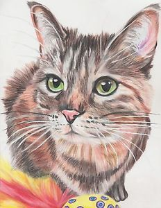 ebay listing: beautiful Prismacolor Pencil pet portraits. 35% goes to Blind Cat Rescue & Sanctuary!