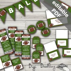 American Football Party Printables. Super Bowl Party. Includes Editable Invitations and Decorations. Instant Download. by DigiDoodling on Etsy https://www.etsy.com/listing/507673453/american-football-party-printables-super