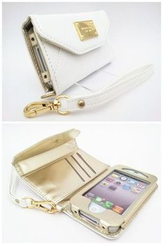 New White Wallet PU Leather Side Flip Case Film for iPhone 4 4S Card Slot MSC144   eBay