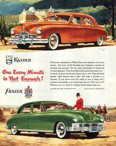 Vintage 1947 Kaiser Frazer car print ad 12,000 cars produced a month A Car A Minute