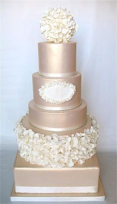 ignore the colour- just wanted you to take note of the texture of this cake.you could add a ring of fresh flowers in between the 2 middle tiers to create more height and change the bottom tier to a circle instead of square. The top sphere and the second cake from the bottom have a beautiful hydrangea/rose petal texture (if hydrangea petals would be wanted, you would have to go with sugar petals...but if you want rose petals they could be out of fresh rose petals...) very beautiful and fuss…