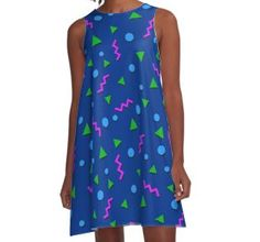 Collection - Memphis A-Line Dress by manfex Indie Art, 80s Dress, Sell Your Art, Chiffon Tops, Shirt Dress, Fabric, Inspiration, Collection, Dresses