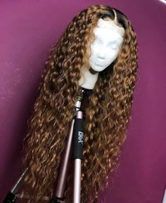 Curly Full Lace Wig with Baby Hair Ombre Color Human Hair Lace Front Wigs Pre-Plucked Hairline - Full Lace Wigs - Human Hair Lace Wigs Curly Hair Styles, Natural Hair Styles, Natural Hair Weaves, Curly Weaves, Human Hair Lace Wigs, Curly Lace Front Wigs, Human Lace Front Wigs, Front Lace, Long Curly Wigs